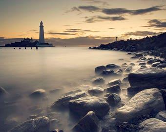 Lighthouse wall art, coastal wall print, seascape decor, lighthouse seascape art decor, ocean sea coastal wall art, coastal beach print