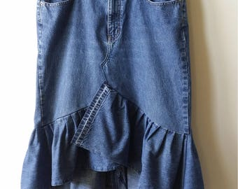 Women's Reconstructed Asymmetrical DENIM RUFFLE SKIRT, Size 12