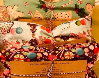 "Organic ""Limited edition christmas lullabies print"" Aromatherapy Heating Pillow"