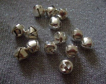 LOT 10 bells charm 10 mm x 10 mm silver-plated
