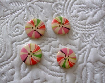 Wood patterns round button shapes geometric 25 mm 4 holes