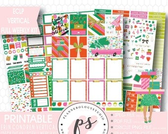 Deck the Halls Christmas Full Weekly Kit Printable Planner Stickers | JPG/PDF/Silhouette Compatible Cut Files | For Use with ECLP Vertical