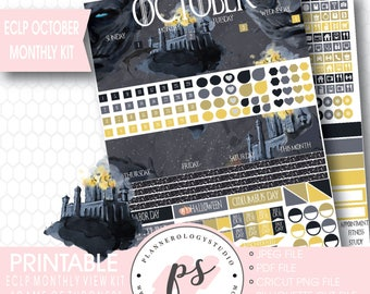 Game of Thrones GOT October 2017 Monthly View Kit Printable Planner Stickers (for Erin Condren) | JPG/PDF/Silhouette Cut File