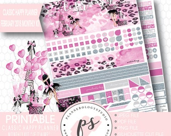 Je T'aime Valentines Day February 2018 Monthly View Kit Printable Planner Stickers (for Classic Happy Planner) | JPG/PDF/Silhouette Cut File