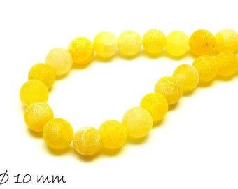 10 pcs matte cracked agate beads, 10 mm, yellow