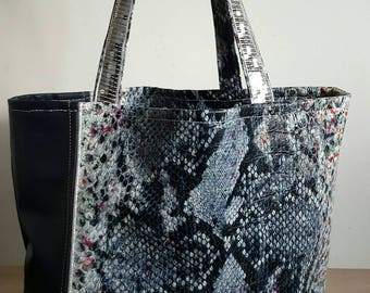 Faux leather square sequined tote bag