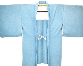 Vintage Silk Aqua Blue Haori Kimono Jacket, Sea Blue Kimono, Japanese Kimono Jakcet with Wavy Tsunami Design
