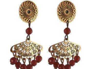 Earring clip red fan (made in France)