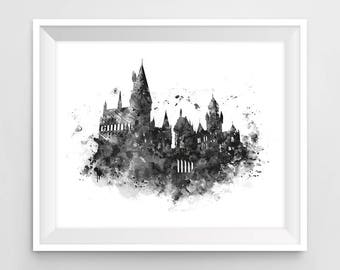 Hogwarts Castle, Art Print, Hogwarts Wall Art, illustration, Black and White, Harry Potter Print, Harry Potter Gift, Printable, Download
