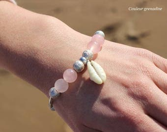 Bracelet gift idea for woman idea cadeauSaint Valentine shell and semi precious stone rose quartz, celebrating the grand mothers, Easter