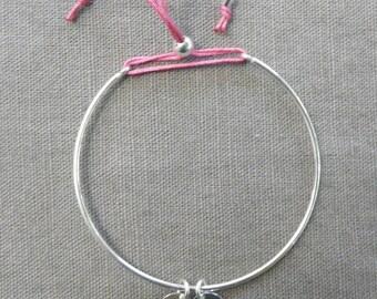 Minimalist bracelet silver half bright pink ring