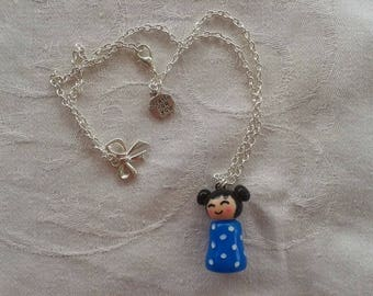 Necklace kokeshi with bow and created for you metal charms and girl kokeshi made of clay