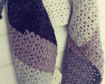 Crochet multi-toned grey Infinity scarf