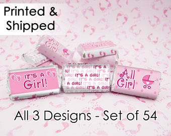 It's a Girl Baby Shower Party Decorations Pink Favor Stickers for Hershey's Miniatures Candy Bars (Set of 54)