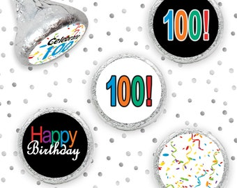 Multicolored Happy 100th Birthday Party Favor Sticker Decorations for Favors, Hershey Kiss Candy Labels, Envelope Seals - 324 Count