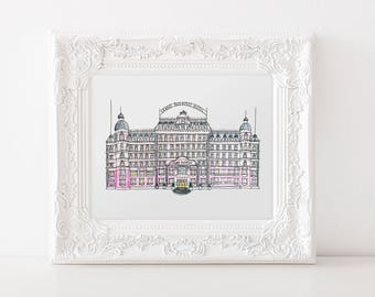 Grand Budapest Hotel Watercolor Illustration Digital Print | Wes Anderson | Printable | Instant Download | Home Decor | Wall Decor