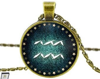 Aquarius Necklace Signs of Zodiac Pendant - Elegant Gift Box