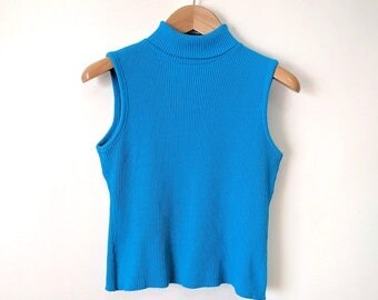 5 DOLLAR SALE - 90s Bright Blue Ribbed Tank Top Turtleneck - Sleeveless Turtleneck - Size Small