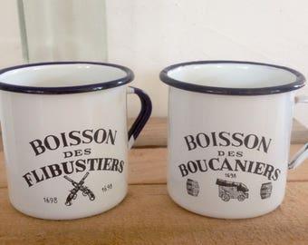 French vintage enamel mugs, mugs camping