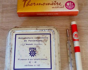 Medical thermometer lead french vintage metal box