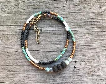 Essential oil diffuser bracelet, lava bead bracelet, beaded bracelet, double wrap bracelet, bracelet diffuser, oil diffuser, boho