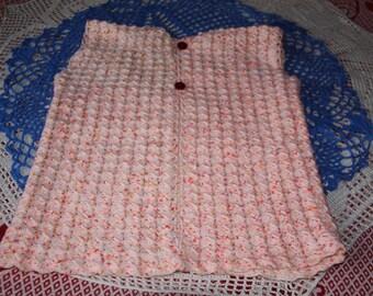 Heather pink yellow white sleeveless jacket 38/40 crochet handmade