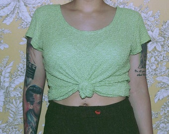 Lime Green Flower Top
