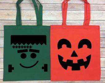 Halloween Trick or Treat Bag - Personalized - Happy Halloween Tote - Canvas Halloween Bag- Frankenstein Tote - Pumpkin Tote