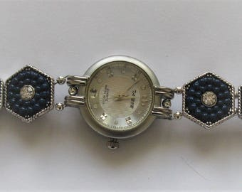 WA13 - Ladies Unique Handmade Blue Antique Look Bracelet Watch