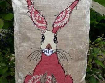 Handmade sitting hare cushion