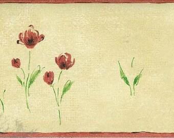 Brown Background Red Petal Rose Art Wallpaper Border 79053 PP