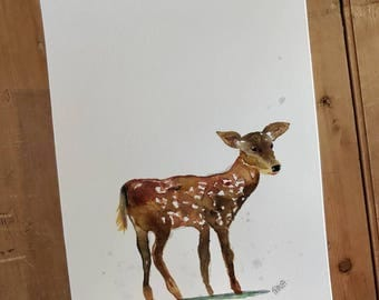 A4 Shimmery Fawn. Original watercolour painting. With subtle lilac splashes.