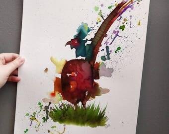 Autumnal Pheasant original watercolour painting. A3.