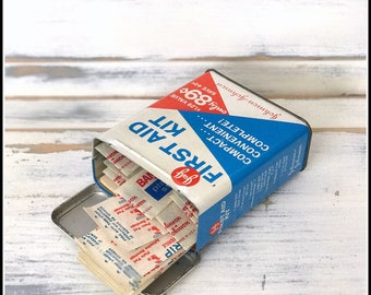 Vintage J&J First Aid Kit Tin - Johnson and Johnson Band-Aids and Assorted First Aid Items