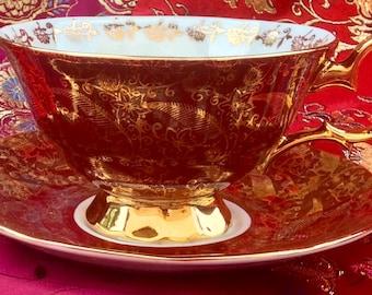 Stunning Elizabethan  Pedestal Teacup and Saucer