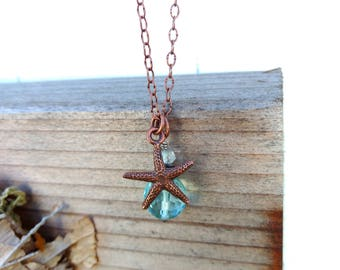 Antique Copper Starfish and Blue Cut Glass Bead Necklace