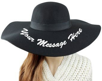 Personalized Felt Floppy Wide Brim Hat Winter Hat Embroidered Customized Statement