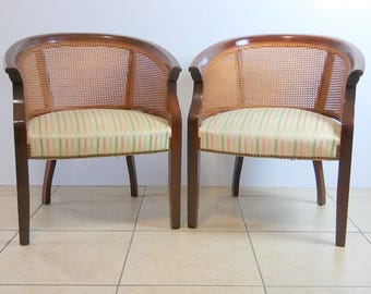 Mid Century Modern ST Timothy Barrel Chairs With Cane Back Set Of 2  Shipping Not Included