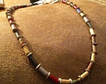 Multicolor Ceramic Tube Bead Choker