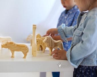 "SET of Carved Wooden Animals ""ZOO"" (Lion Elephant Bison Giraffe Rhino Gorilla Turtle Camel Bear) Montessori toys Friendly Toy Waldorf toys"