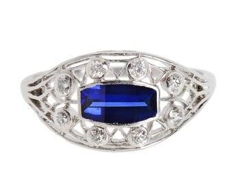 Ring Vintage Sapphire Diamond | Estate Filigree Diamond Sapphire Ring | Low Profile Estate White Gold Engagementd Ring || 18078