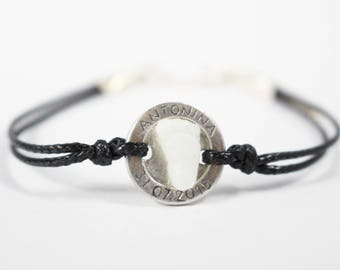 Personalized sterling silver bracelet leather rope