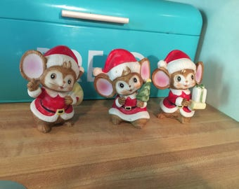 Vintage Homco Christmas mice / mouse figurines porcelain / ceramic   set of 3
