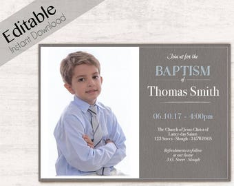 Baptism Invitation Boy Editable file, Editable PDF Instant Download Boy Invitation, LDS Baptism Invite, Baptism Invitation photo Boy Baptism