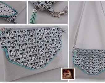 "Pouch / clutch ""Pixie"" cotton graphic mint panda and suede"