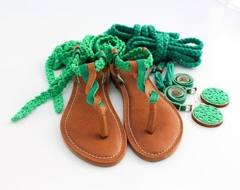 Unique summer sandals, comfortable but incredibly feminine with crocheted laces