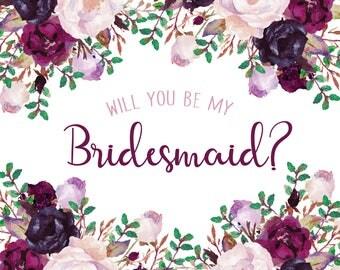 Bridesmaid Proposal\\ Purple \\Digital File