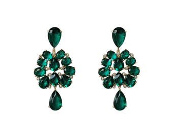 Mumbai Drops - Statement Earrings - 18K Gold Plated Brass - Exquisite Earrings - Gold earrings - Emerald Crystals