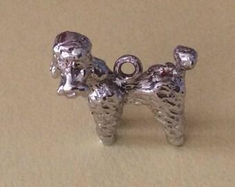 Sterling silver poodle dog charm vintage #250 s