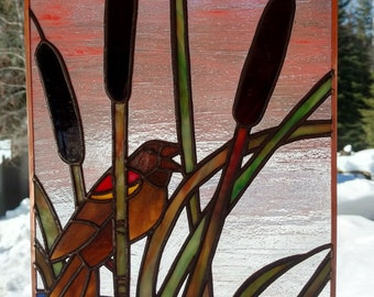 Stained Glass Picture, Red Winged Blackbird in Bulrush (cattails) with sunset.  Handmade, copper foil with black patina